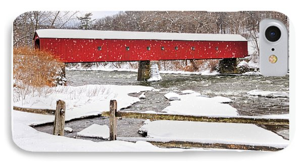 Connecticut Covered Bridge Snow Scene By Thomasschoeller.photography  IPhone Case by Thomas Schoeller