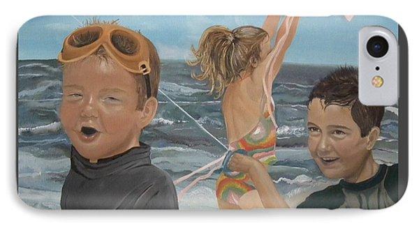 Beach - Children Playing - Kite Phone Case by Jan Dappen