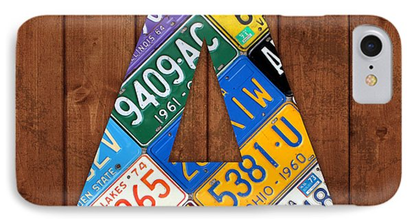 Letter A Alphabet Vintage License Plate Art IPhone Case