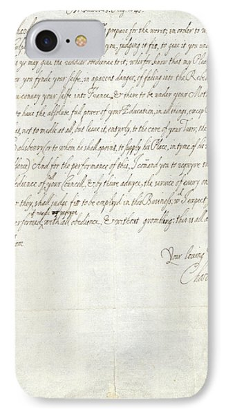 Letter Of Charles I IPhone Case