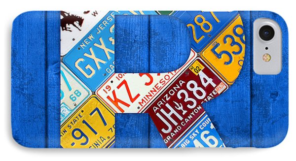 Letter R Alphabet Vintage License Plate Art IPhone Case