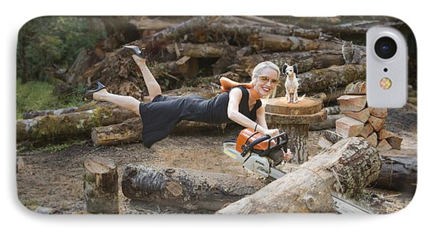 Levitating Housewife - Cutting Firewood IPhone Case by Lori Grimmett