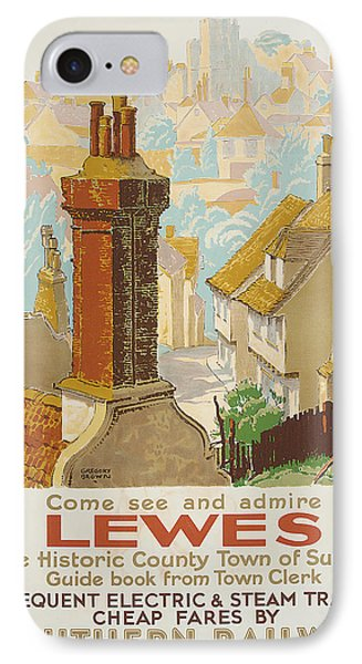 Lewes Poster Advertising Southern Railway IPhone Case by Gregory Brown