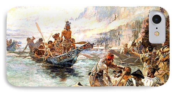 Lewis And Clark On The Lower Columbia  Phone Case by Charles Russell