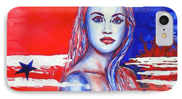 IPhone Case featuring the painting Liberty American Girl by Anna Ruzsan