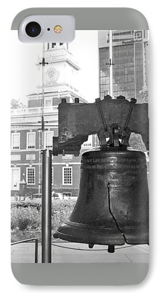 Liberty Bell And Independence Hall Bw IPhone Case by Barbara McDevitt