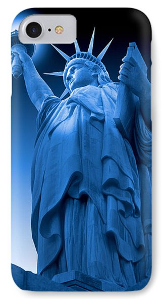 Liberty Shines On In Blue IPhone Case by Mike McGlothlen
