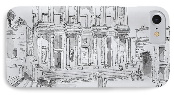 IPhone Case featuring the painting Library At Ephesus by Marilyn Zalatan