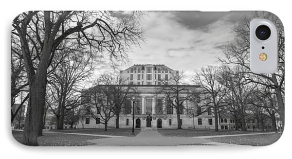 Library Ohio State University Black And White  IPhone Case by John McGraw