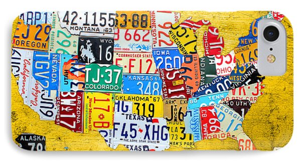License Plate Art Map Of The United States On Yellow Board Phone Case by Design Turnpike