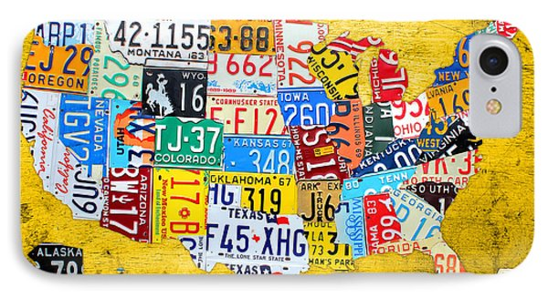 License Plate Art Map Of The United States On Yellow Board IPhone Case