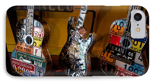 IPhone Case featuring the photograph License Plate Guitars by Vinnie Oakes