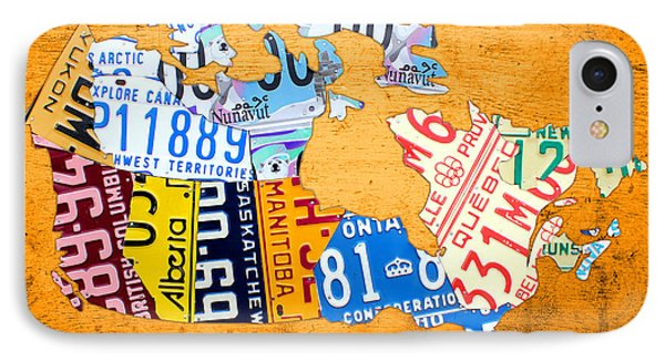 License Plate Map Of Canada On Bold Orange IPhone Case by Design Turnpike