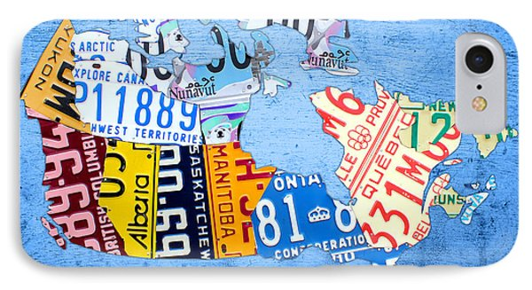 License Plate Map Of Canada On Sky Blue IPhone Case by Design Turnpike