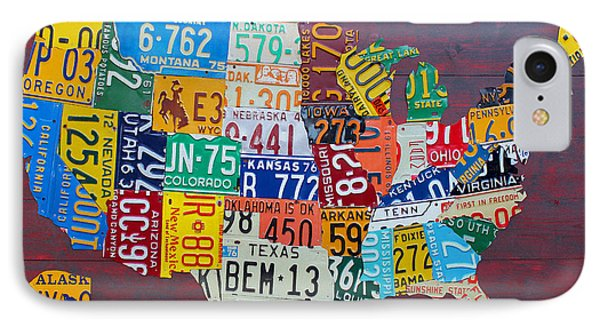 Car iPhone 7 Case - License Plate Map Of The United States by Design Turnpike