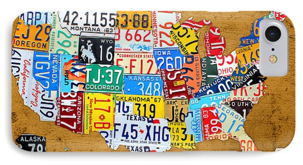 License Plate Map Of The United States On Burnt Orange Slab IPhone Case by Design Turnpike