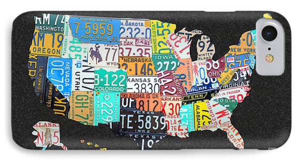 License Plate Map Of The United States On Gray Felt With Black Box Frame Edition 14 IPhone Case