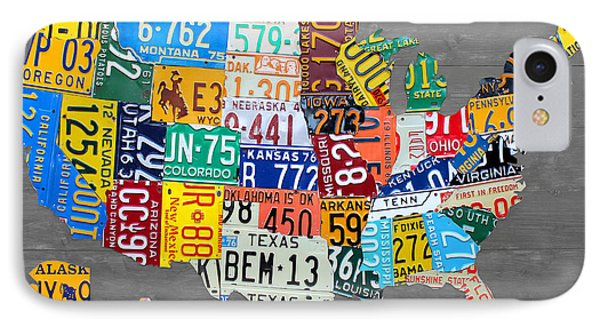 License Plate Map Of The United States On Gray Wood Boards IPhone Case by Design Turnpike
