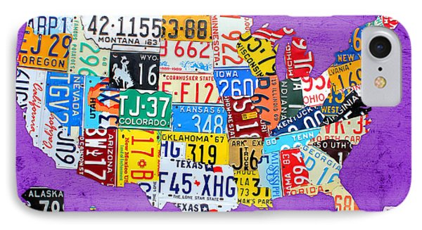 License Plate Map Of The United States On Vibrant Purple Slab Phone Case by Design Turnpike