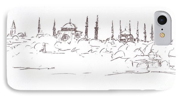 Lido View Serenity Blue Mosque Phone Case by Valerie Freeman