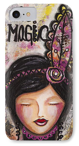 IPhone Case featuring the mixed media Life Is Magic Uplifting Collage Painting by Stanka Vukelic