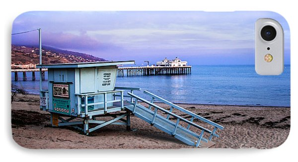 Lifeguard Tower And Malibu Beach Pier Seascape Fine Art Photograph Print IPhone Case