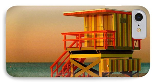 Lifeguard Tower In Miami Beach Phone Case by Monique Wegmueller
