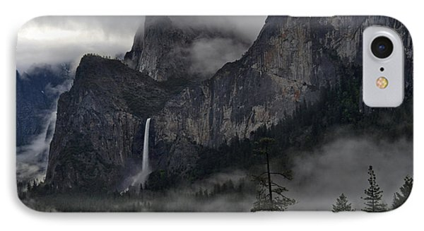 Lifting Fog And Clouds At Bridalveil Fall Phone Case by Steven Barrows