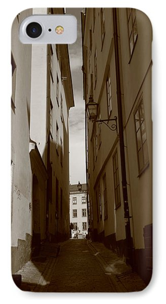 Light And Shadow In A Narrow Alley - Monochrome IPhone Case