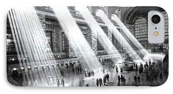 IPhone Case featuring the photograph Light Beams Grand Central Station 1929 by Merton Allen