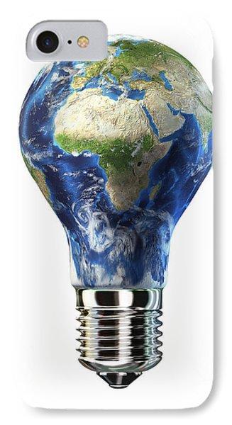 Light Bulb With Planet Earth IPhone Case by Leonello Calvetti