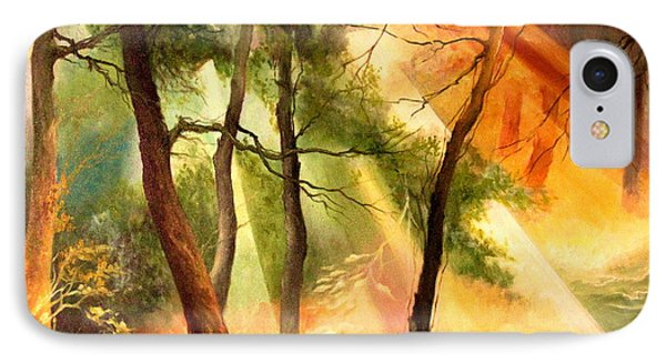 IPhone Case featuring the painting Light In The Forest by Mikhail Savchenko