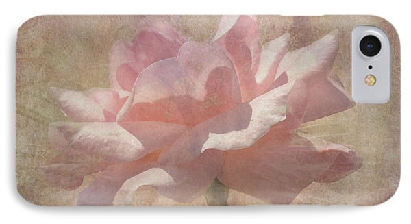 Light Pink Grunge Rose IPhone Case by Rosalie Scanlon