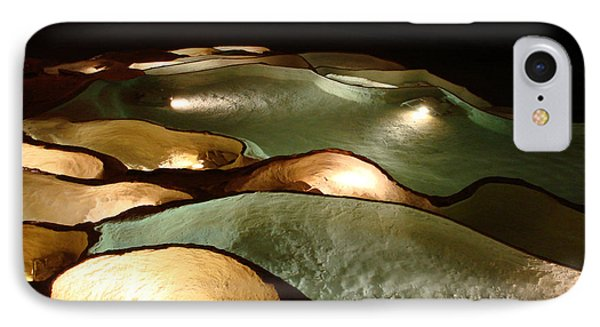 IPhone Case featuring the photograph Light Up The Dark - Lit Natural Rock Water Basins In Underground Cave by Menega Sabidussi