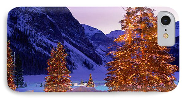 Lighted Christmas Trees, Chateau Lake IPhone Case