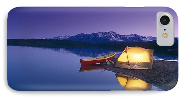 Lighted Tent & Canoe Byers Lake Tokosha IPhone Case by Michael DeYoung