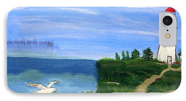 Lighthouse And Seagull 2 IPhone Case by Mindy Bench