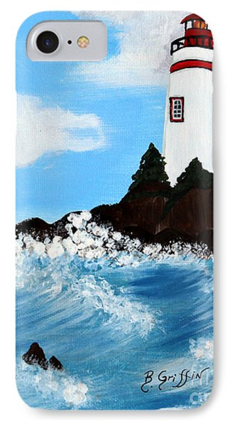 Lighthouse And Sunkers Phone Case by Barbara Griffin