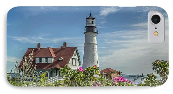 IPhone Case featuring the photograph Lighthouse And Wild Roses by Jane Luxton