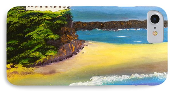 IPhone Case featuring the painting Lighthouse At Nobbys Beach Newcastle Australia by Pamela  Meredith