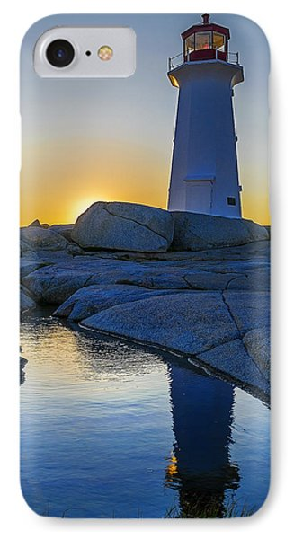 Lighthouse At Sunset IPhone Case by Ken Morris