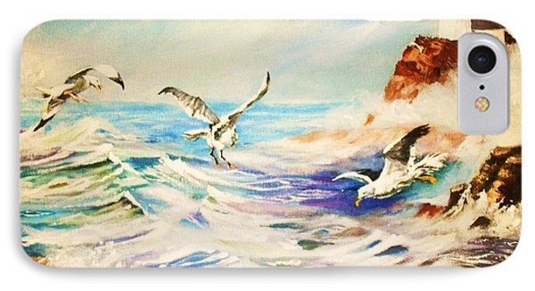 IPhone Case featuring the painting Lighthouse Gulls And Waves by Al Brown