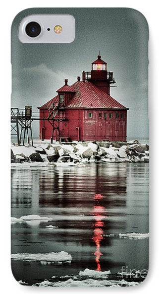 Lighthouse In The Darkness IPhone Case by Mark David Zahn