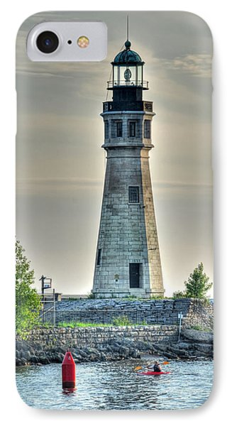 Lighthouse Just Before Sunset At Erie Basin Marina IPhone Case by Michael Frank Jr