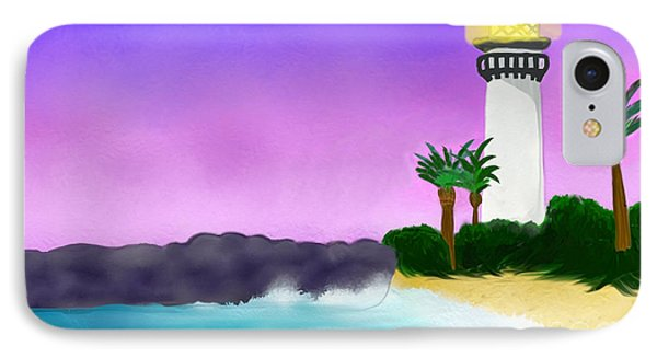 Lighthouse On Beach IPhone Case by Anita Lewis