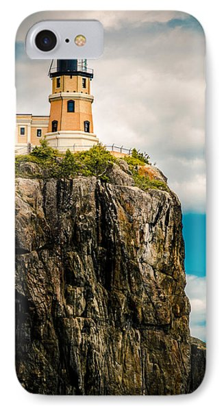 Lighthouse On Split Rock IPhone Case by Mark David Zahn