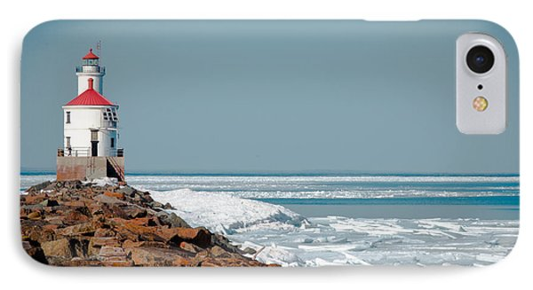 Lighthouse On Stone And Ice IPhone Case by Mark David Zahn
