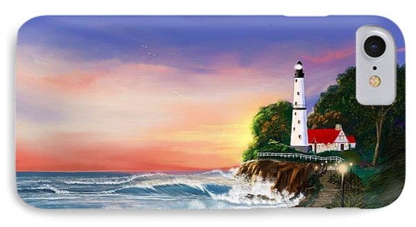 Lighthouse On The Cliff IPhone Case by Anthony Fishburne