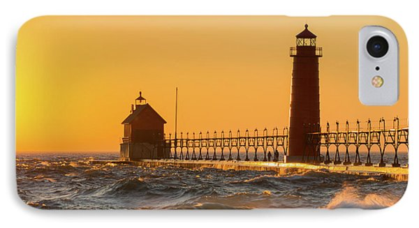 Lighthouse On The Jetty At Dusk, Grand IPhone Case by Panoramic Images