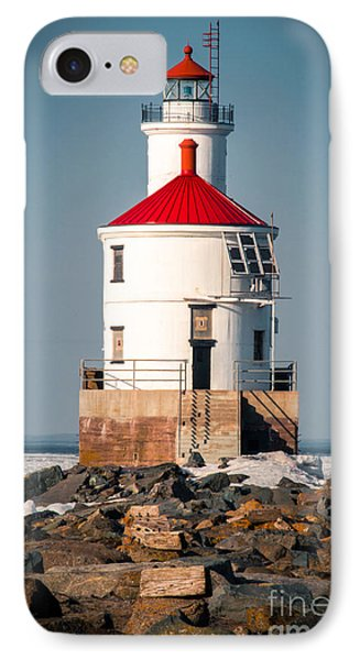 IPhone Case featuring the photograph Lighthouse On The Rocks by Mark David Zahn Photography
